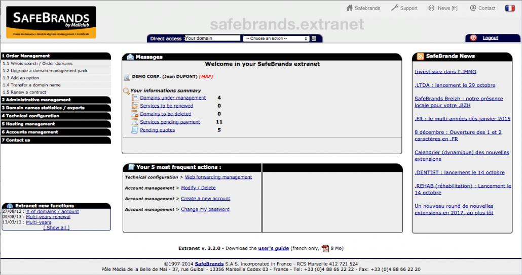 Extranet gestion sécurisée nom de domaine version UK